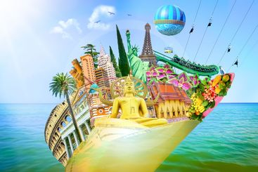 Tourist collage, travel, attractions of the world