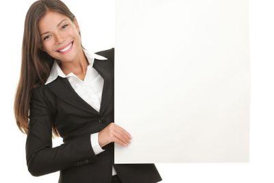 Businesswoman whiteboard sign