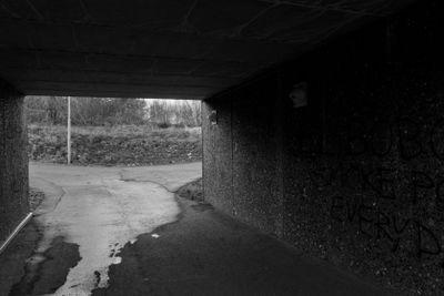 Dark walkway tunnel