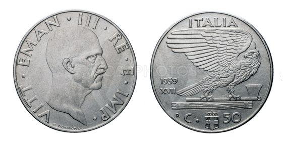 fifty 50 cents Lira acmonital Coin 1939 XVIII Empire...