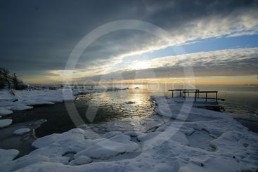 Magical winter's sunset in the archipelago
