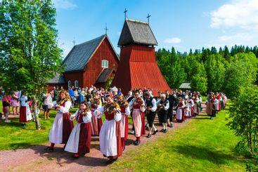 People celebrating midsummer festival, Evertsberg,...