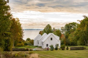 New England traditional house in the fall