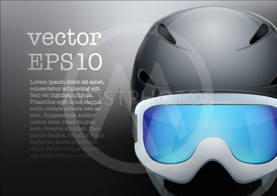 Background of Classic Ski helmet and snowboard goggles....