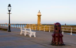 Whitby pier at sunset