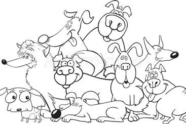 cartoon dogs group for coloring book