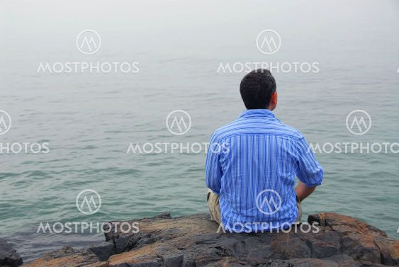 Man looking at fog