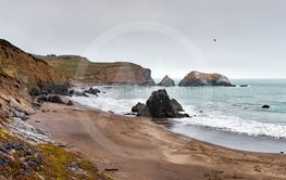 Black Sands Beach in Marin Headlands on a cloudy day,...