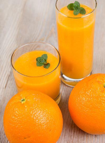 Fresh orange and ginger smoothie drink