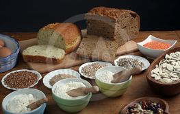 Ingredients for whole grain healthy bread