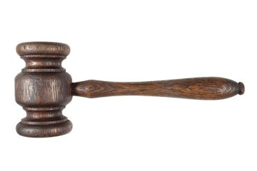 An old auctioneers/judges wooden hammer.