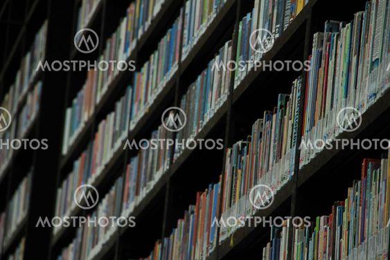 Books in bookcase.