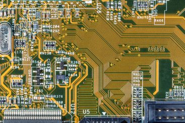Electronic circuit and chips details at computer mainboard