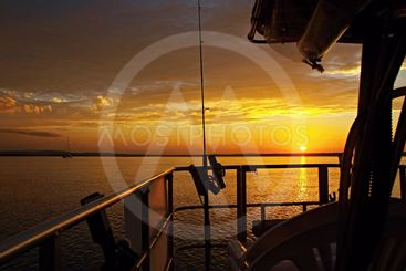 Golden Cruising Sunset Seascape.