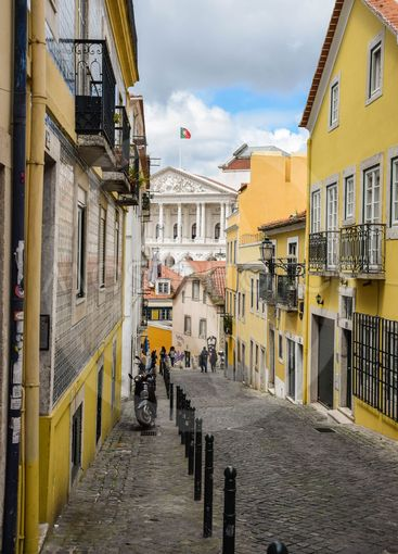 Street in Lisabon in color. In the city centre. small...