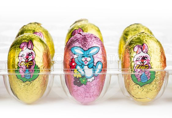 close up image of easter chocolate eggs
