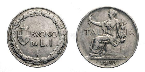 One 1 Lira Nichelio Coin 1922 Buono Vittorio Emanuele III...