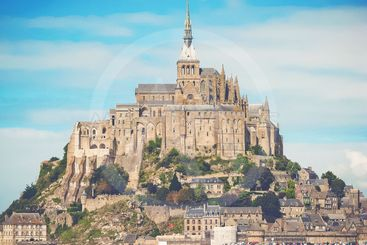 The monestry Mont Saint Michel during a clear autumn day