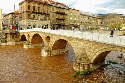 Latin Bridge on Miljacko river, Sarajevo, Bosnia and...