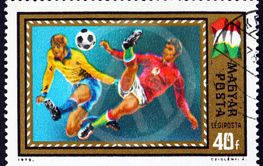 Postage stamp Hungary 1972 scene from soccer