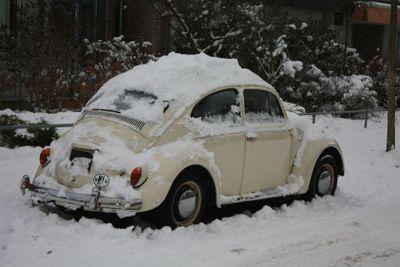 Vintage german car in the snow