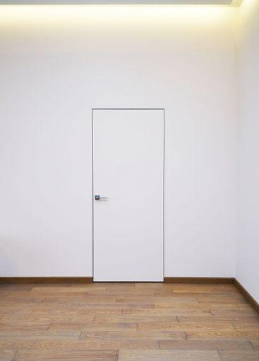 Invisible interior door. Aluminum frame hidden door in...