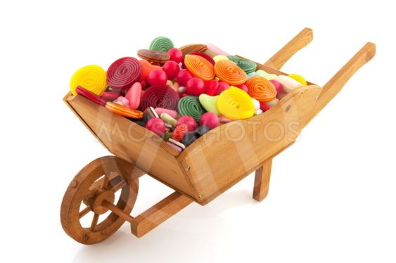 Wheel barrow with lots of candy