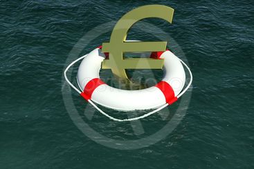 Sign of European currency in rescue disk floats on water