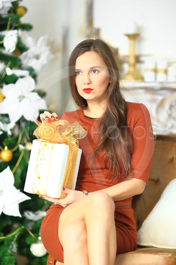 the girl in a brown dress with a Christmas gift 5