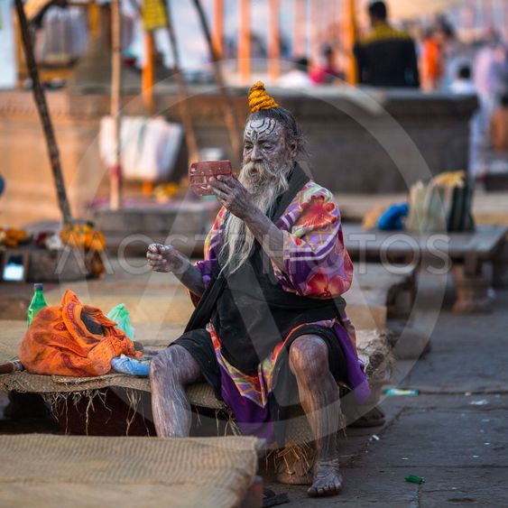Sadhu or Baba (holy man) on the ghats of Ganges river.