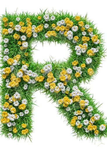 Letter R Of Green Grass And Flowers