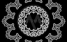 Round Frame - floral lace ornament - white on black...