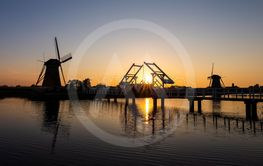 Traditional Romantic Dutch Windmills and Wooden...