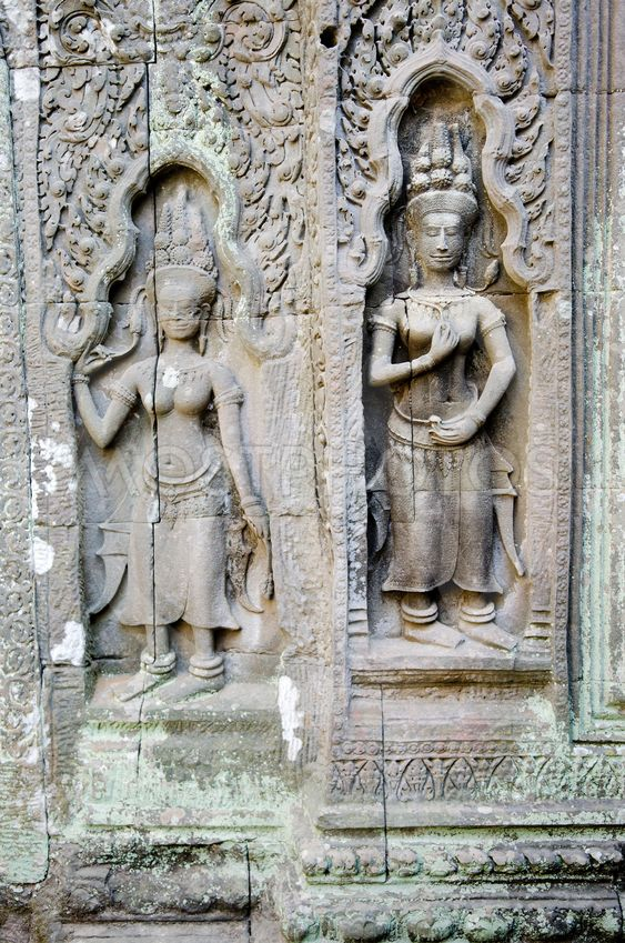 Bas relief stone carving angkor wat cambodia ancient khmer