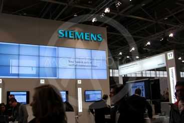 HANNOVER, GERMANY - MARCH 10: stand of Siemens on March...