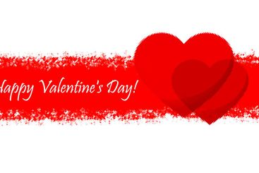 Happy Valentine's Day. Two red hearts as symbols of love