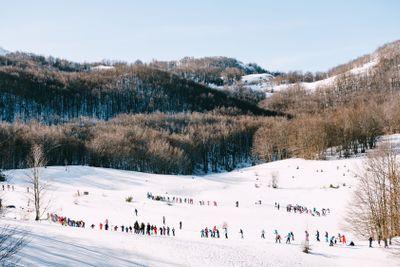 Children are skiing. Winter ski resort in the mountains...