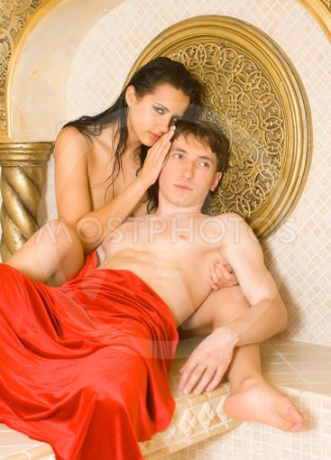 a young woman and young boy in a Turkish bath