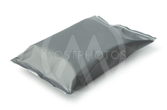 Blank grey plastic food bag