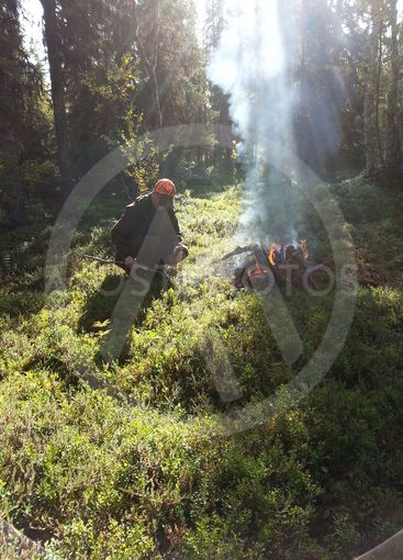 Jägare gör eld i skogen