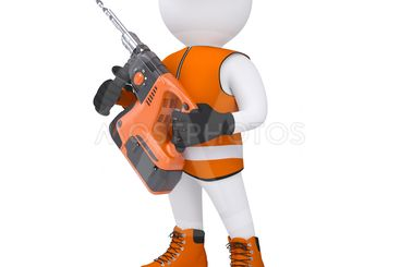 3d man holding electric perforator