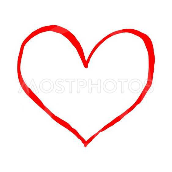Red heart isolated on white background. Sketch drawing...