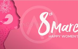 Happy Womens Day paper cut banner of woman head