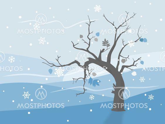 Ensomme træet i vinter landskab