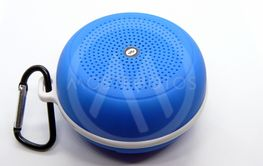 Blue Bluetooth Portable Speaker with Carabiner