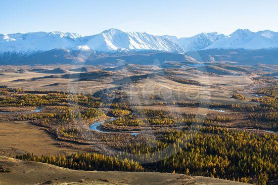 Panorama of Chuya ridge at Altai mountains, Siberia,...