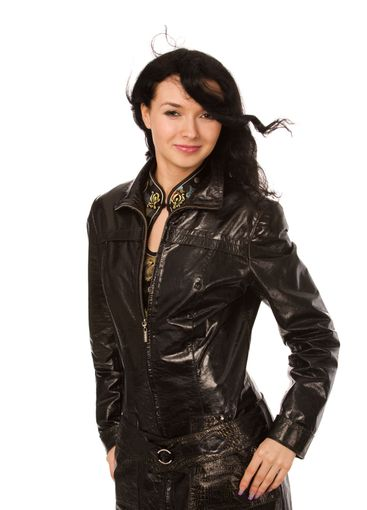 woman in leather coat