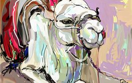 original digital painting artwork of white camel