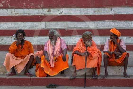 Group of Sadhu (holy men) on the ghats of Ganga river.
