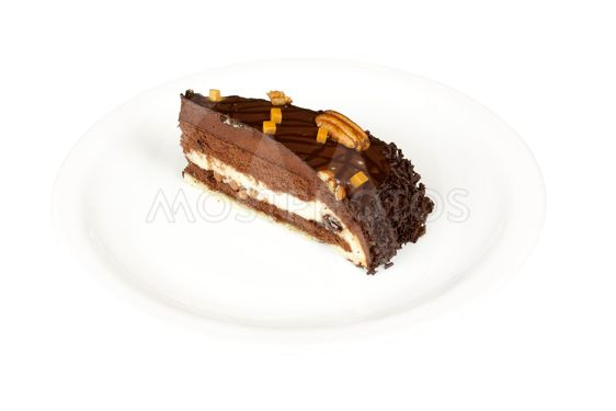 chocolate cake with whiped cream isolated